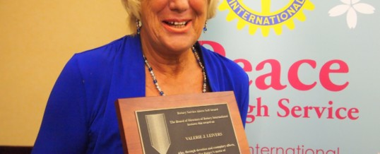 Rtn Val Leivers receives highest accolade Rotary has to offer